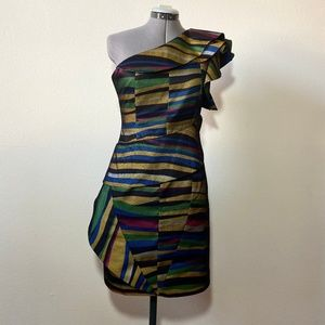 Karen Millen Striped one shoulder dress